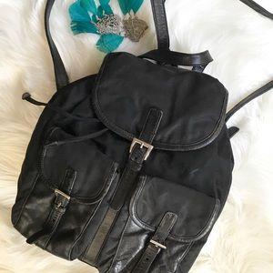 Auth Prada Black Microfiber Leather Trim Backpack